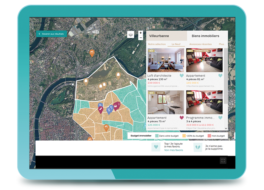 Screenshot of vivrou with a map with POIs and a list of real estate